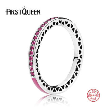 FirstQueen New Arrival High Quality Radiant Hearts Ring For Woman Wedding Rings Real Silver 925 Jewellery Q