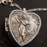 Music Box Locket Mythological Goddess Antiqued Silver plated Heart with Sterling Necklace  - Choose your song (including Rare Song List)