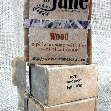 Small Wood Soap -  Pine Tar Soap with Kaolin Clay and Essential Oils - Vegan Friendly!