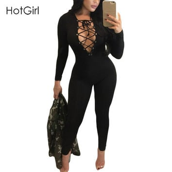 Sexy Rompers Womens Jumpsuit Hollow Out Deep V Lace up Fashion Jumpsuit Criss Cross Bandage Casual Full Sleeve Sexy Bodysuit