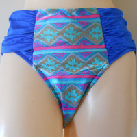 High Waist Bathing Suit Bottom Aztec Bikini Bottom 90s Bathing Suit Bottom 90s Bikini Bottom 90s Swimsuit Bottoms Blue Bikini Bottoms