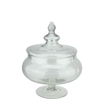 "15"" Rotund Transparent Glass Jar with Finial Topped Lid"