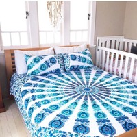 Mandala Queen Bed Cover ( Sea Blue )