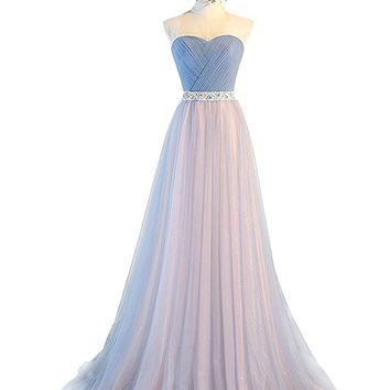 Women's Beaded Sweetheart Tulle A Line Formal Gown With Pleated Boidce
