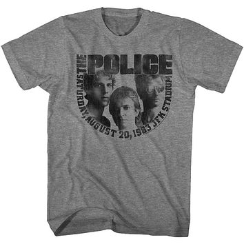 The Police T-Shirt 1983 JFK Stadium Concert Graphite Heather Tee