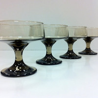Brown Dessert Glasses Mid Century Modern by vintage19something