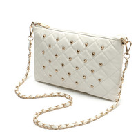 White Soft Quilted Crossbody Bag with Gold Studs