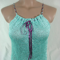 Knitted Top Blouse Mint Spring Summer by Arzu's Style