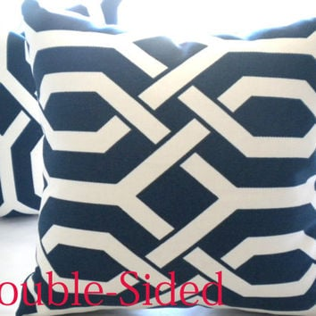 Navy and white pillow cover 18 x 18 trellis motiff Double Sided