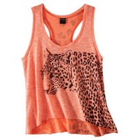 Juniors Cheetah Graphic Sweater Tank - Bright Coral