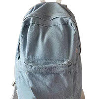 Light Blue Pocket Front Back To School Denim Backpack