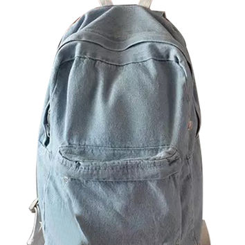 Light Blue Pocket Front Denim Backpack