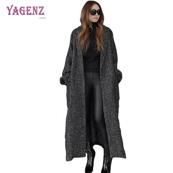 Winter Korean Version Womens Long Woolen Jacket 2018 Fashionable Leisure  Loose Warm Wool Coat Herringbone Lacing Overcoat B91