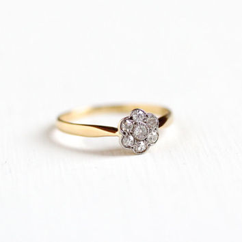 Vintage 18k Yellow & White Gold .21 CTW Diamond Flower Cluster Ring - Art Deco 1930s Size 6 1/2 Engagement Bridal Fine 18ct Halo Jewelry