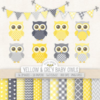 Baby Owl Clip Art. Nursery, Yellow, Gray Baby Shower Clipart. Baby Boy Digital Paper in Chevron, Polka Dot, Gingham. Yellow, Grey Owls
