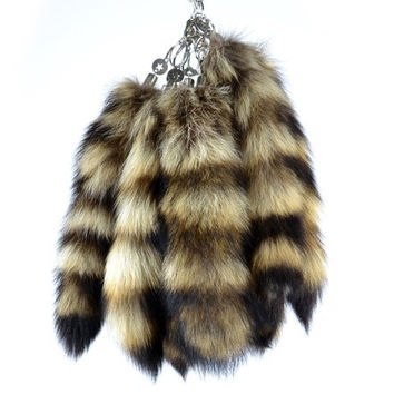 "Authentic Raccoon Tail Fur Keychains Natural Color Bag Hanging Tag Car Key Chain 11"" = 1932580036"