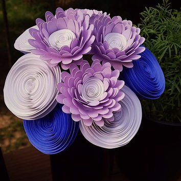 Paper Flower Bouquet - 12 Lavender Daisies and Rolled Paper Flowers  - Handmade Paper Flowers for Brides, Weddings, Showers, Birthdays