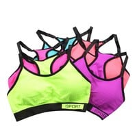 High Quality Sexy Women Stretch Casual Bra Racerback Workout Padded Tank Tops Bras
