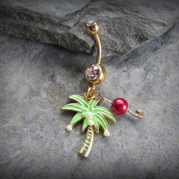 Personalized Crystal Palm Tree Dangle Belly Ring, Birthstone Pearl, Clear Austrian Crystal, Tiny Glass Pearls,Body Jewelry, Navel Piercing,