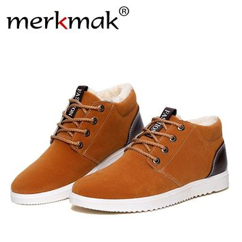 Merkmak Men's Winter Shoes Fashion New Flats Warm Man Ankle Boots Fur Soft Leather Shoes Men Casual Shoes Mens Winter Footwear