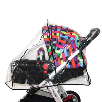 Behogar PVC Pushchair Baby Pram Buggy Transparent Rainproof Cover Stroller Rain Shade Protector Wind Dust Shield Accessories