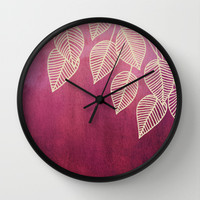 Magenta Garden - watercolor & ink leaves Wall Clock by micklyn
