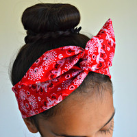 Red Paisley dolly bow headband , Chic Head wrap