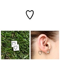 Tattify Small Heart Outline Temporary Tattoo - A little love (Set of 2) - Other Styles Available - High Quality and Fashionable Temporary Tattoos - Tattoos that are Long Lasting and Waterproof
