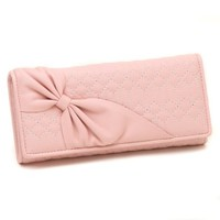 Damara Women Bowknot Design Stitched Large Clutch Wallet Pink (Pink)