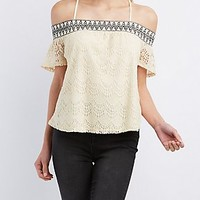 LACE COLD SHOULDER TOP
