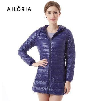 AILORIA 2017 Winter Long Spring Autumn Overcoat Women Ultra Light 90% White Duck Down Coat Jackets Duck Down Jacket For Women