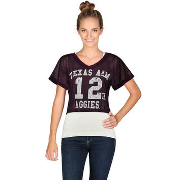 Texas A&M Aggies chicka-d Women's Mesh Field Jersey Crop Top - Maroon