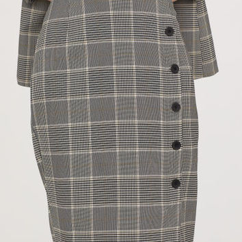 Knee-length skirt - Grey/Checked - Ladies | H&M GB