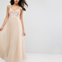Needle & Thread Prarie Embroidery Tulle Maxi Dress at asos.com