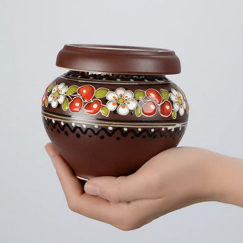 Painted handmade vintage natural  brown decorative clay pot Kitchen decor