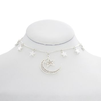 Crescent Moon and Stars Choker
