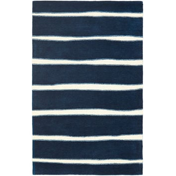 MARTHA STEWART RUGS MSR3617C-8 Chalk Stripe Wrought Iron and Navy Rectangular: 8 Ft. x 10 Ft. Rug - (In Rectangular)