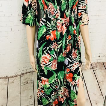Tropical Print High Low Off the Shoulder Dress