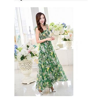 Brand Women Summer Dress Maxi Dress Green Porcelain Ladies Beach vestidos Long Gown Floral Printed High Waist Bohemian Dress XL