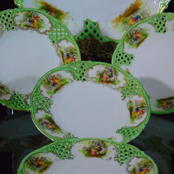 Pierced Porcelain Dessert Serving Set ,Vintage Schumann Dresden Bone China, Reticulated Plates, Courting Couple Pattern