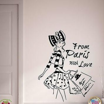 Wall Stickers Vinyl Decal From Paris with Love Pretty French Fashion Unique Gift (EM508)