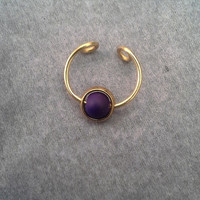 Purple Custom Septum Nose Ring Cuff  Captive  Ball No Piercing Required-faux nose ring- For Him/ For Her