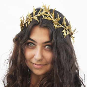 Gold Leaf Woodland Princess Crown -  Glitter Greek Goddess, Princess Costume, Toga Costume Halloween, Nymph, Forest Fairy, Gold Tiara, Crown