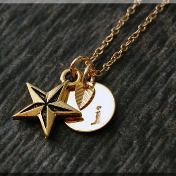 Gold Nautical Star Necklace, Initial Charm Necklace, Personalized Necklace, Nautical Charm, Star charm, Star Pendant, Nautical Jewelry