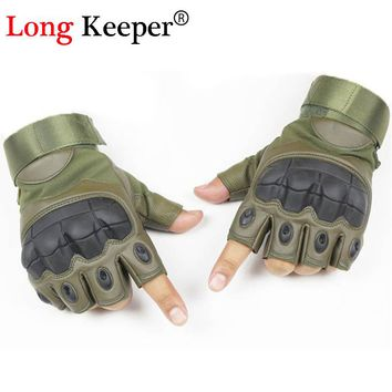 Long Keeper Army Tactical Gloves Military Special Forces Outdoor Half Guantes Gym Combat Slip-resistant Cut Leather Gloves G204