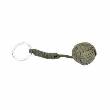 1PCS Survival Keychain With Steel Ball Inside Paracord Lanyard Keyring Self-defense Emergency Survival Tool 4 Colors