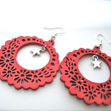 Wooden Earrings. red Earrings. Hoops Earrings. Bright Earrings. Flower Floral,stars earrings