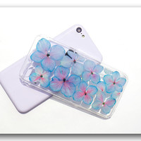 Handmade iPhone 5C case, Resin with Dried Flowers,  Lavender color Hydrangea