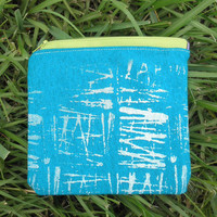 Upcycle Screenprinted Zipper Pouch in Teal