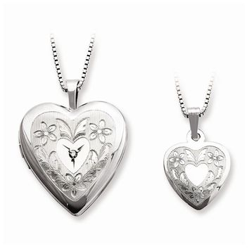 Sterling Silver Diamond Polished Heart Mom Locket & Daughter Pendant Set